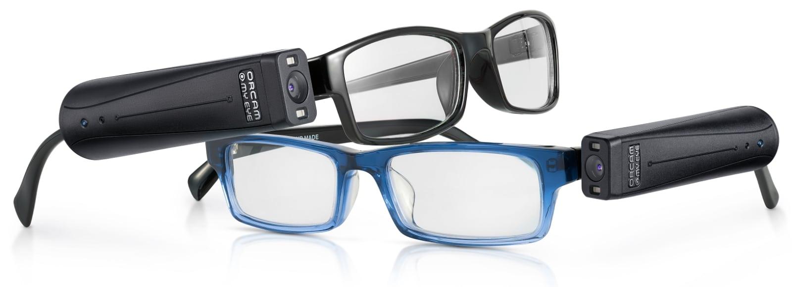 OrCam MyEye an Brillengestell befestigt
