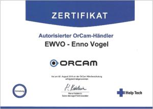 Zertifikat von OrCam für Enno Vogel von EWVO